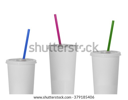 White plastic fastfood cups