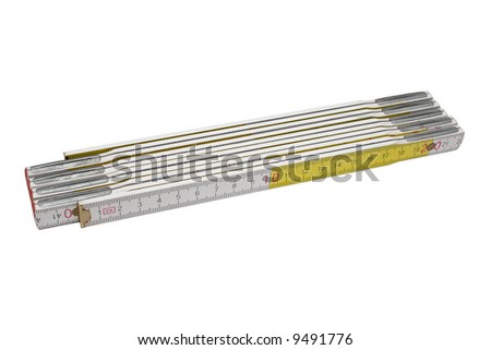 White plastic folding rule isolated with clipping path - stock photo