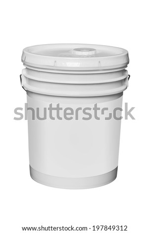White plastic 5 gallon paint container with blank label, isolated with clipping path - stock photo