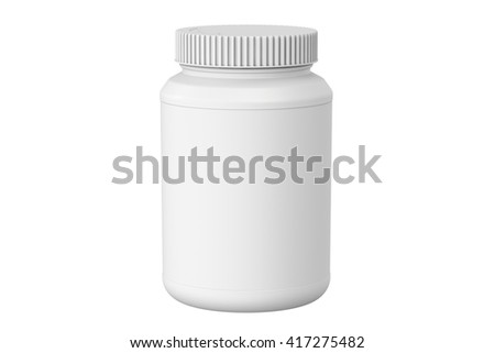 white plastic jar, 3D rendering isolated on white background