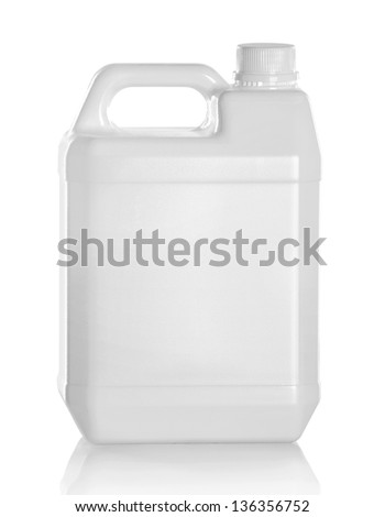 White plastic jerry can isolated on a white background - stock photo