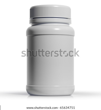 White plastic medical container for pills or capsules. Blank for label. 3d - stock photo