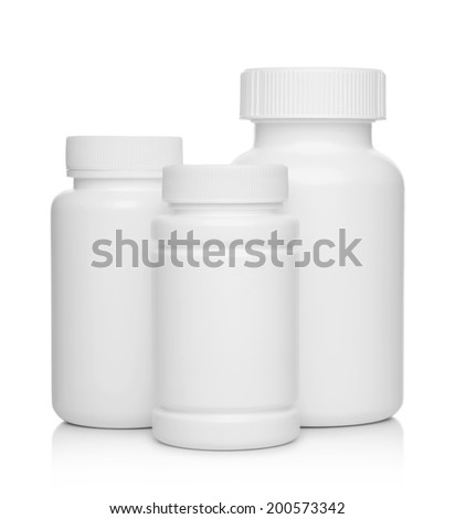 white plastic medical containers for pills isolated on white - stock photo