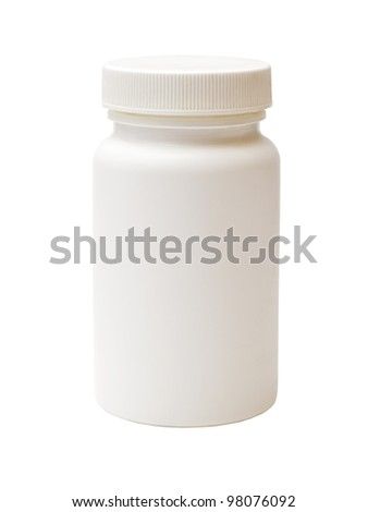 white plastic medicine vial isolated on white background - stock photo