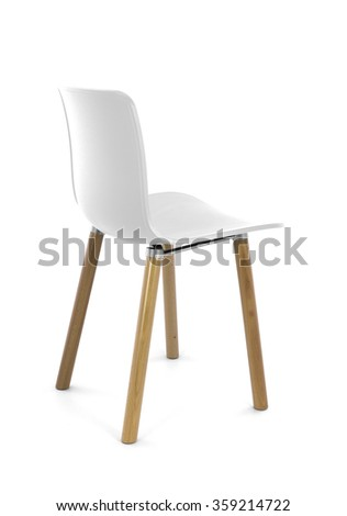 White Plastic Modern Chair with Wood Legs, Back Three Quarter View