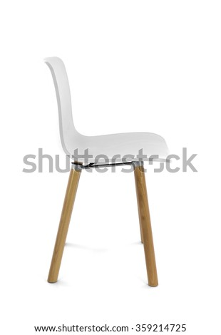 modern chair plastic. White Plastic Modern Chair With Wood Legs, Side View D