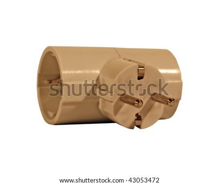 white plastic plug. electric power plug. - stock photo