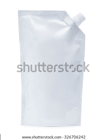 White plastic pouch stand up bag or doy-pack with a corner batcher lid. Isolated on a white background.