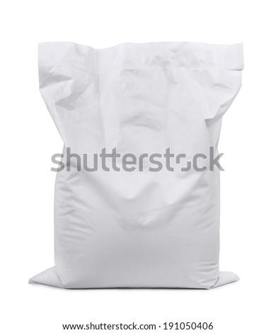 White plastic sack isolated on white - stock photo