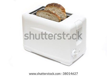 white plastic toaster with 2 slices of bread isolated on white