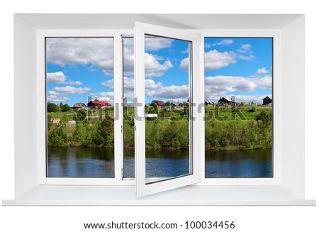 White plastic triple door window with tranquil view through glass. Isolated on white background. Opened door - stock photo