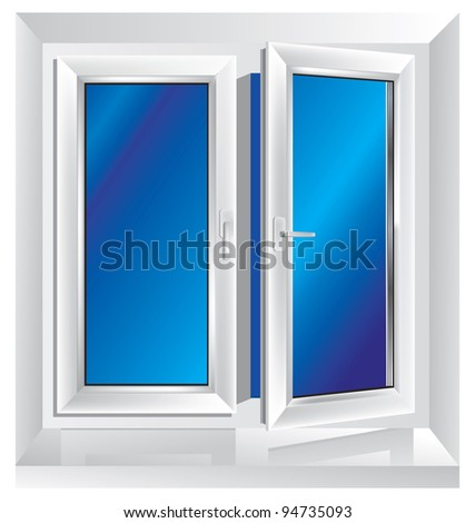 white plastic window ajar with blue color in the background - stock photo