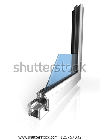 White plastic window cut out on white - stock photo