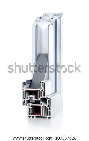 white plastic window cut out with glass - stock photo