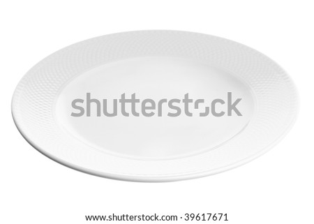 White plate at angle isolated on white background - stock photo