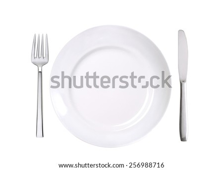 white plate, fork and knife isolated on white background - stock photo