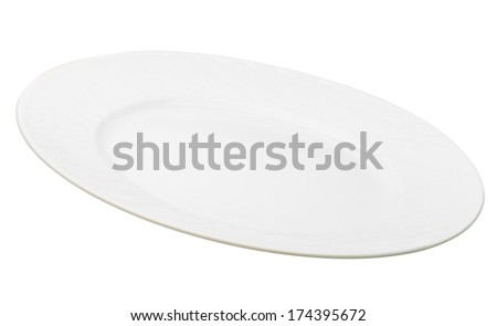 White plate isolated - stock photo
