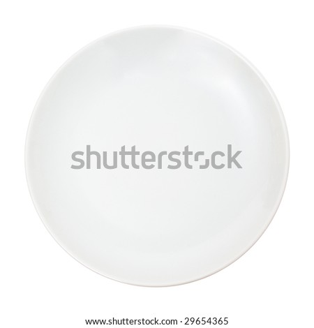 White plate isolated on white. - stock photo