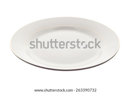 White plate isolated on white background. Angle view, deep depth of field, picture is in focus from front to back. - stock photo