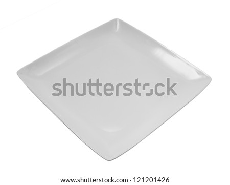 white plate on a white background - stock photo