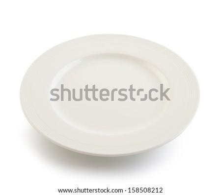white plate on white background - stock photo