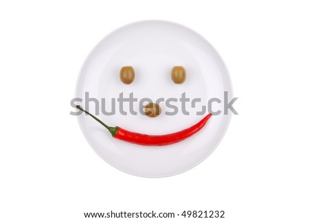 White plate with chili pepper and olives isolated