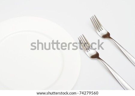 White plate with fork