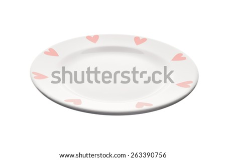White plate with heart on the border isolated on white background. Angle view, deep depth of field, picture is in focus from front to back. - stock photo