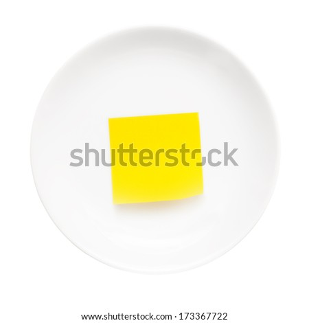 White plate with stick note on it isolated on white background. Just add your own text  - stock photo