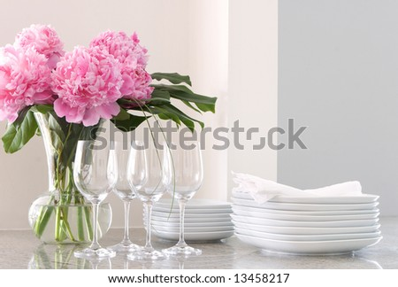 white plates & napkins, wine glasses & peonies - home entertainment