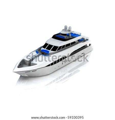 White pleasure yacht - stock photo