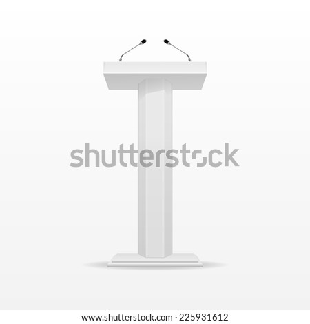 White Podium Tribune Rostrum Stand with Microphones Isolated on Background - stock photo