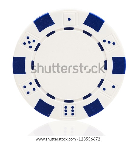 White poker chip isolated on white - stock photo