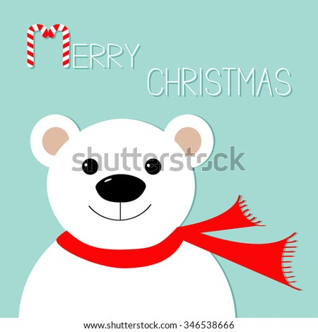 White polar bear in red scarf. Candy cane. Merry Christmas Greeting Card. Blue background. Flat design