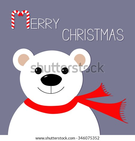 White polar bear in red scarf. Candy cane. Merry Christmas Greeting Card. Violet background. Flat design