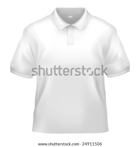 White polo shirt design template (isolated on white, clipping path) - stock photo