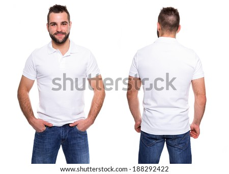 White polo shirt on a young man template on white background - stock photo