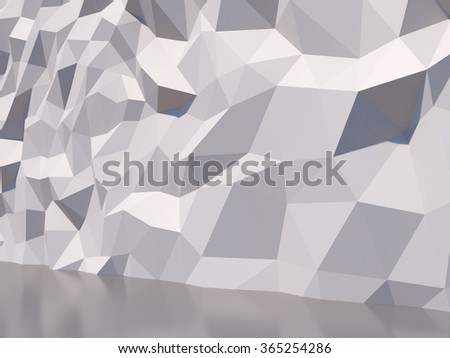 White polygon wall 3D background. - stock photo