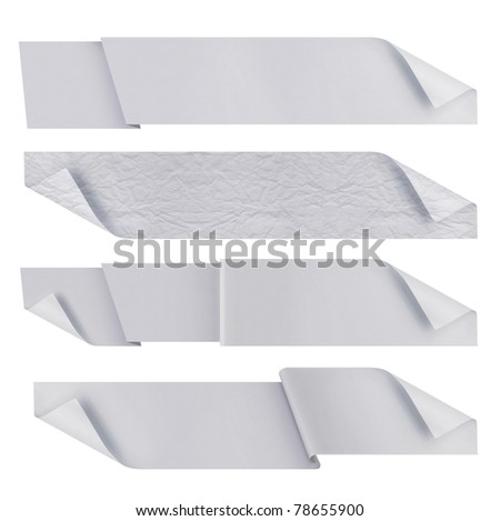 white polygonal origami ribbons. ready for your text - stock photo
