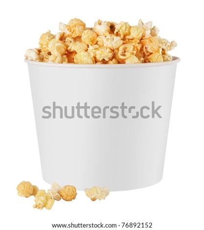white popcorn box isolated on white background - stock photo