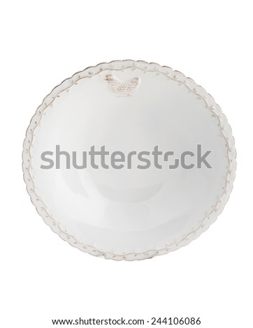 white porcelain dish with patterns isolated on white background - stock photo
