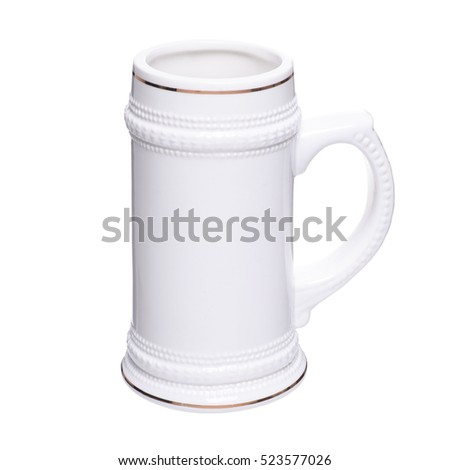 White porcelain mug with gold rim