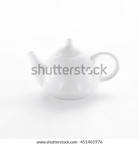 White porcelain teapot on white background