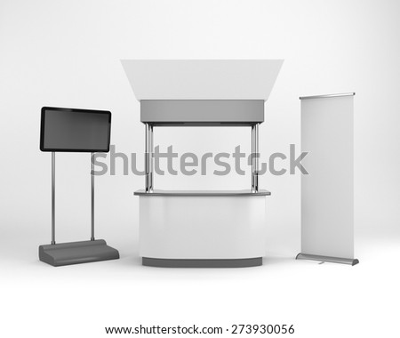 white portable booth or kiosk with tv display. 3D rendering - stock photo