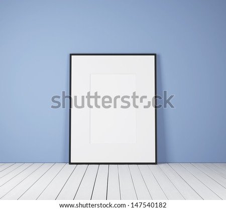 white poster in bright room - stock photo
