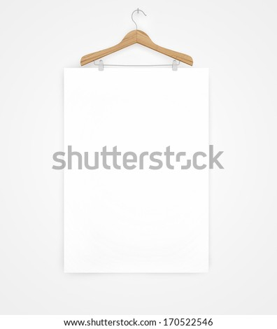 white poster on a wooden hanger - stock photo