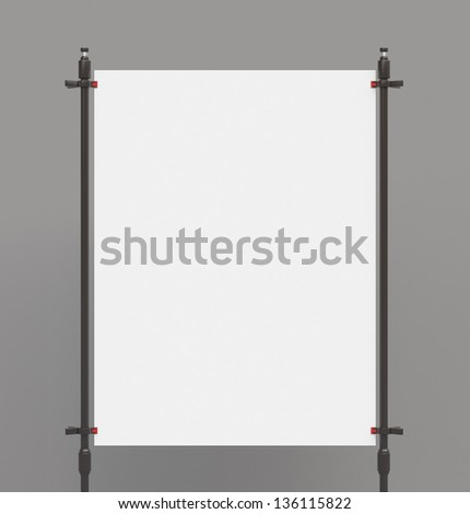 white poster sandwiched metal clasps - stock photo