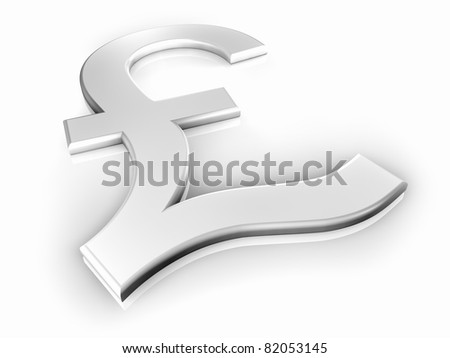White pound sign on white background, shine and reflection, 3d render