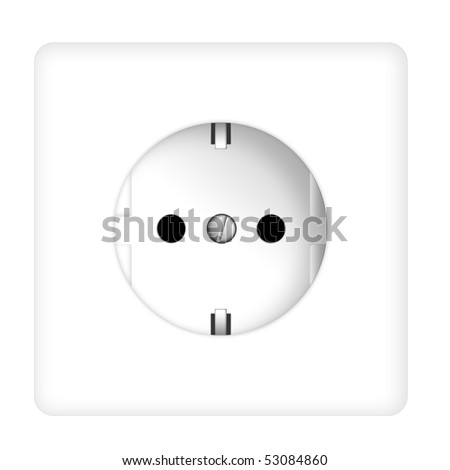 White power outlet, isolated (illustration) - stock photo
