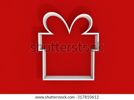 White present outline shape on a red background - stock photo